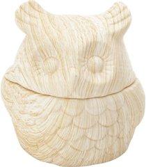 potiche de cerã¢mica bege wood owl urban - multicolorido - dafiti