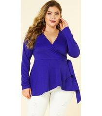 blusa de manga larga con cuello en v y cinturón azul talla grande yoins