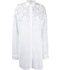 ermanno scervino embroidered style studded shirt dress - white