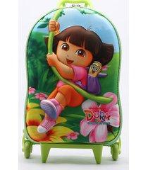 mochila diplomata infantil menina dora verde - único