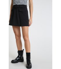 saia feminina curta com bolso e cinto preta