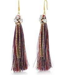catherine malandrino women's clustered white rhinestone yellow gold-tone multicolor tassel earrings