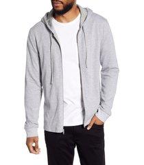 men's vince regular fit bird's eye zip hoodie, size large - grey