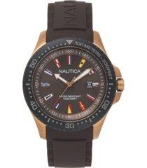 nautica men's analog blue silicone strap watch 44mm