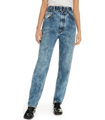 women's maison margiela acid wash belted high waist jeans