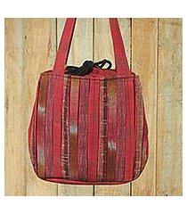cotton shoulder bag, 'orient red' (thailand)