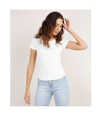 blusa feminina básica canelada manga curta decote redondo off white