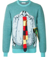 jw anderson trompe l'oeil shirt and tie sweater - blue