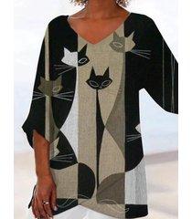 camicetta casual da donna manica 3/4 con stampa gatto a contrasto