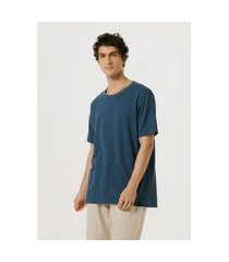 camiseta hering manga curta malha textura rústica azul