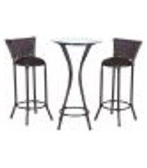 conjunto bistrô mesa alta e 2 banquetas moscou pedra ferro a21 para cozinha edicula bar varanda