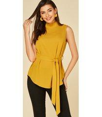 yoins yellow self-tie design stand collar sleeveless tank top