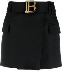 balmain short black grain de poudre fabric skirt