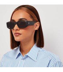 le specs women's grass half full oval sunglasses - black grass