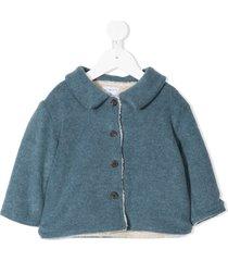 violeta e federico single breasted flannel coat - blue