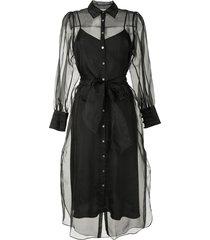cinq a sept sheer shirt dress - black