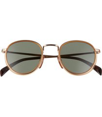 men's eyewear by david beckham 49mm round sunglasses - honey brown/ gold/ light green