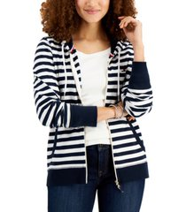 tommy hilfiger striped zip-front hoodie