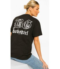 'babygirl' slogan back print t-shirt, black