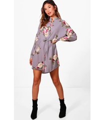 bloemenprint blouse jurk, zilver