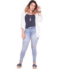 jean skinny femenino azul medio claro pretty much