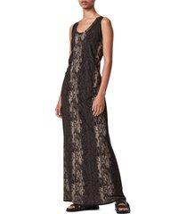 women's allsaints ami masala snake print sleeveless maxi dress
