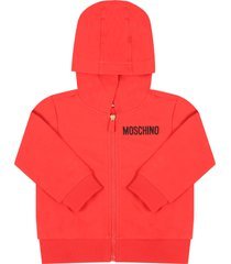 moschino red sweatshirt for babyboy with logo
