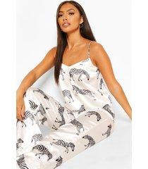 satijnen zebraprint pyjama setje met hemdje en broek, white
