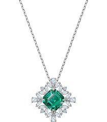 palace rhodium-plated & white & green swarovski crystal pendant necklace