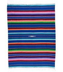 native yoga large mexican serape blanket royal blue cotton