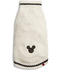 barefoot dreams(r) x disney cozychic(tm) mickey mouse pet sweater, size large in cream/carbon at nordstrom