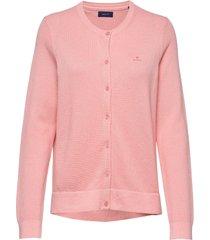 cotton pique cardigan gebreide trui cardigan roze gant