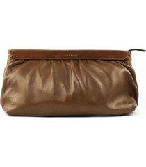 isabel marant brown leather laz clutch bag