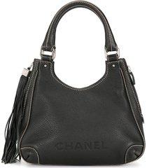 chanel pre-owned 2003-2004 tassel detail tote bag - black