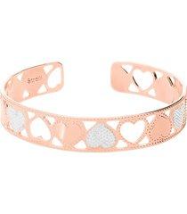 bracciale rigido small in bronzo rosato con cuori bicolore per donna
