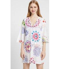 dress english embroidery and mandalas - white - xl