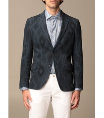 etro blazer etro jacket in patterned cotton and wool jersey