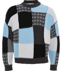 jw anderson patchwork intarsia cotton sweater - black