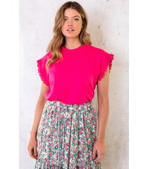top met embroidery fuchsia