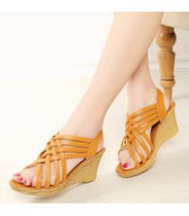 verano para mujer peep toe plataforma informal sandalias de gladiador