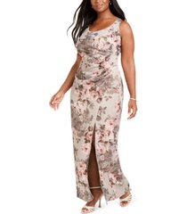 adrianna papell plus size floral ruched gown
