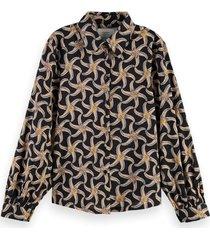 scotch & soda 161499 0222 printed organic cotton viscose shirt combo f multicolor