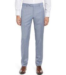 men's zanella parker flat front sharkskin wool trousers, size 34 x r - blue