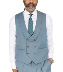 tayion collection men's classic-fit solid teal suit separates double-breasted vest