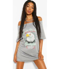 band print off the shoulder slouchy sweat dress, grey marl