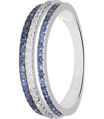 anello in oro bianco, zaffiri 0,32 ct e diamanti 0,12 ct per donna