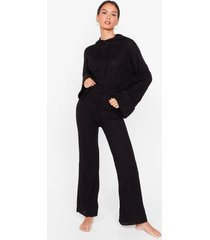 womens take the easy option hoodie and pants lounge set - black