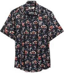 joseph abboud black floral short sleeve sport shirt