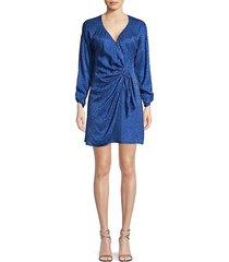 parker women's linda print silk-blend wrap dress - ultramarine - size 2
