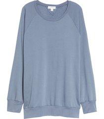 plus size women's treasure & bond crewneck tunic sweatshirt, size 3 x - blue